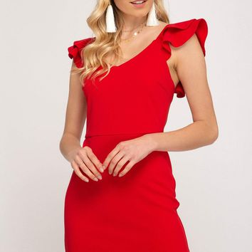 Women's Double Layered Ruffled Sleeve Knit Dress with a Flounce Hem
