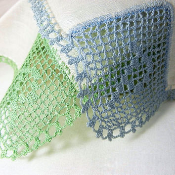 Initial Handkerchiefs Filet Crochet Hankies: White with Blue and White with Green Crocheted Design and Edging (Vintage)