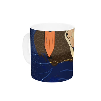 "Famenxt ""Mermaid"" Blue Orange Ceramic Coffee Mug"