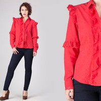 80s Red Ruffled Blouse / Eyelet Cotton Button Up Shirt / Cute Girly Casual Avant Garde Medium M Blouse