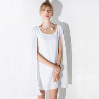 Chiffon Autumn Stylish Simple Design Cape Decoration One Piece Dress [9022452548]