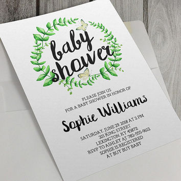 Printable Baby Shower Invitation, Green Wreath, Yellow Butterflies, 5 x 7 Inch, Spring Baby Shower, Personalize, Custom, Unisex Baby Shower