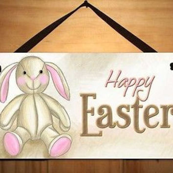 Kids Door Sign Happy Easter Bunny Holiday Personalized Name Sign DS0351