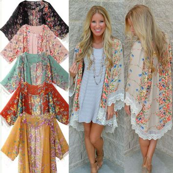 Women Vintage Floral Shirt Boho Chiffon Coat Shawl Kimono Cardigan Top US Stock