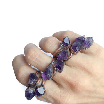 Amethyst statement ring | Amethyst birthstone jewelry | Stackable amethyst ring| Raw amethyst jewelry | Amethyst stacking ring