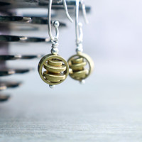Gold Dangle Earrings, Teeny Tiny, Astronomy Jewelry, Raw Aged Brass, Orbiting Planets, Sterling Silver, Whisper Weight, Unusual Statement