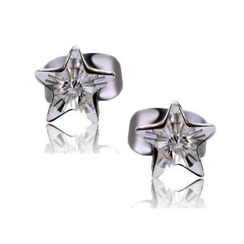 Platinum Plated Swarovski Elements Crystal Luck Star Stud Earrings