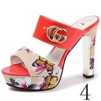 GUCCI summer new waterproof platform rough with sandals female fashion sexy open-toed sandals NO.4