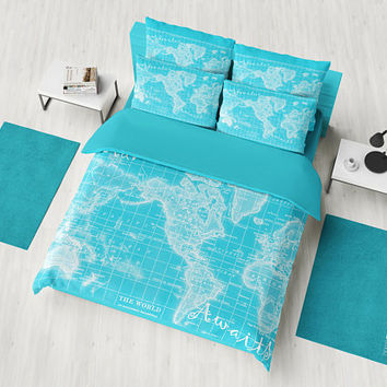 Adventure Awaits Duvet Cover or comforter - bed - turquoise bedroom, travel decor, cozy soft, winter, warm, wanderlust