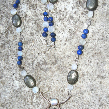 Sterling Silver, Lapis Lazuli, Moonstone & Pyrite Necklace
