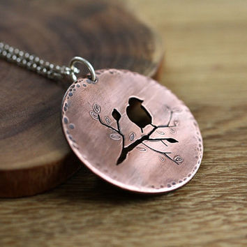 Birds & Branches necklace in copper