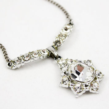 Vintage Rhinestone Necklace with Pendant - Possible unsigned Bogoff