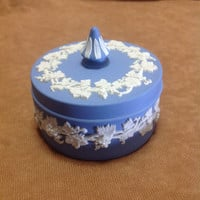 Vintage Wedgwood Blue Jasperware Grapes and Grape Vines Powder / Jewelry Box