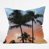 Deb Haugen sunset palm Throw Pillow