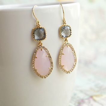 Pink and Gray Earrings
