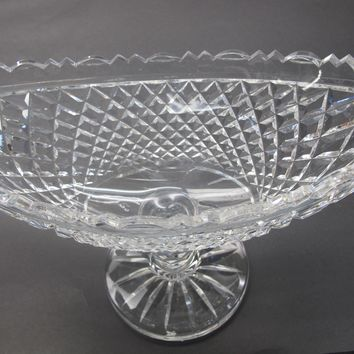 Signed Waterford oval pedeastal bowl Hand cut in Ireland
