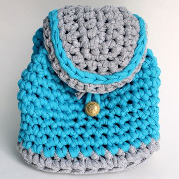 "Crochet backpack ""Blue Dream"""