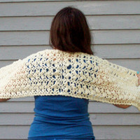Off White Crochet Prayer Shawl Handmade Wrap Comforting Shawl