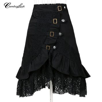 Steampunk clothing women's large size fashion black cotton lace skirt xl big goth punk clothes femme jupe saias UK designer club