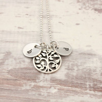 Initial necklace with Tree of Life charm, sterling silver, hand stamped, mom's necklace, gift for mom or grandma or couple, tiny bits