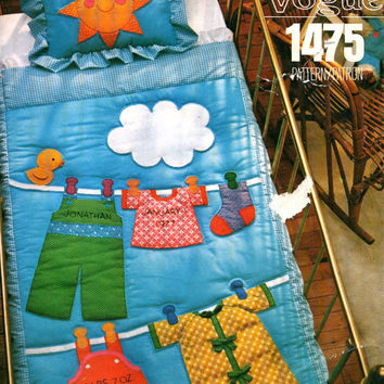 1970s Little Vogue 1475 Baby Crib Quilt & Pillow Sham - Customizable Appliques For Name, Birth Date, Weight - Vintage UNCUT Sewing Pattern