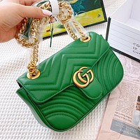 Gucci Marmont wave line shoulder bag green