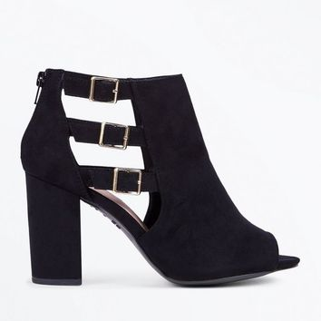 Wide Fit Black Comfort Suedette Triple Buckle Heels | New Look