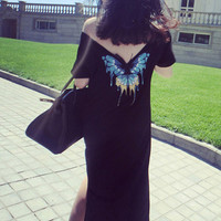 Thin Butterfly Printed Long Dress