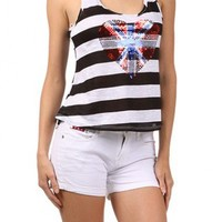 Stripe Sequin Heart Print Tank  - Diva Hot Couture