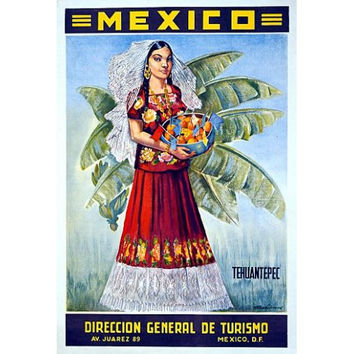 Tourism Mexican Girl Bowl Of Fruit Old Travel Poster