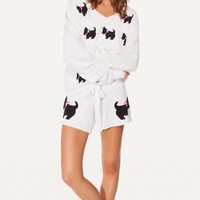 BLACK DOGGIE CUTIE SHORTS at Wildfox Couture in  BANANA SPLIT, -CLEAN WHITE