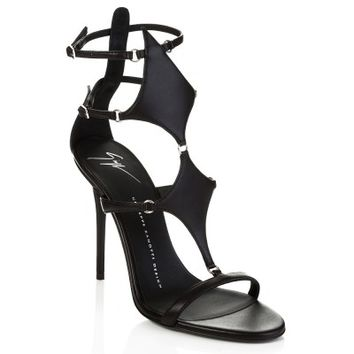 Giuseppe Zanotti Black Leather Strapped Heels