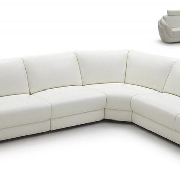 Modern White Full Leather Sectional Sofa Set