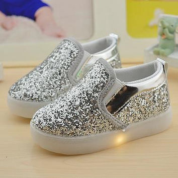 Choice of Girls Sparkle Slip on LED Light Up Shoes