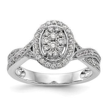 14K White Gold Diamond Cluster Oval Halo Twist Engagement Ring