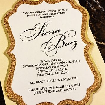 Sweet 16 Invitation - Gold Glitter and Foil Sweet 16 Invite - SIERRA VERSION