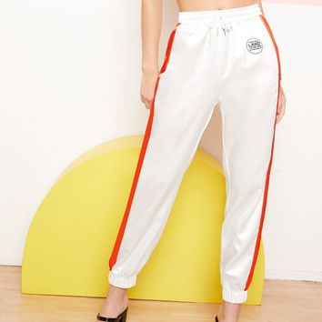 Slogan Print Detail Striped Side Satin Pants