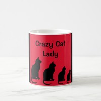 Crazy Cat Lady Red and Black Design Coffee Mug