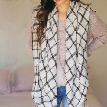 Martha Ivory Plaid Scarf