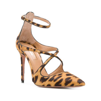 Aquazzura Leopard Print Pumps - Yellow Leather Pumps