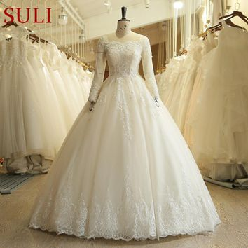 SL-519 Ivory French Lace Ball Gown Bridal Gowns Vintage Boho long Sleeve Wedding Dress 2018