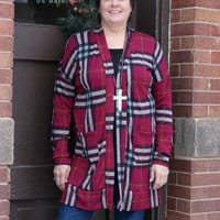 Red Plaid Sweater Knit Long Cardigan