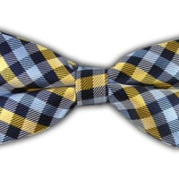 Prepster Plaid - Navy/Gold (Bow Ties) - Wear Your Good Tie. Every Day