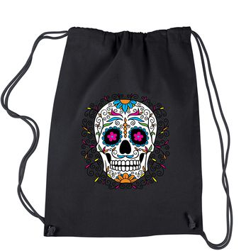 Frills Sugar Skull Drawstring Backpack