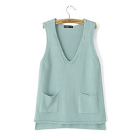 V-Neck Sleeveless Knitted Shirt With Pockets