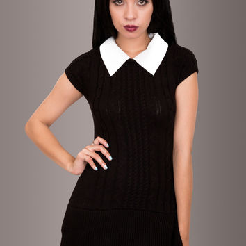 Black Cable Knit Sweater Dress with White Collar