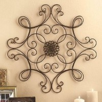 Square Scrolled Metal Wall Medallion Decor