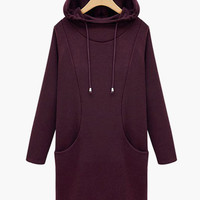 Long Sleeve Hooded Long Sweater