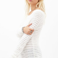 Fuzzy Knit Ribbed Sweater