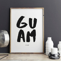 Guam Print, Guam Poster for office decor Japan gift, Guam city Prints, art, Wall Art, Art